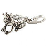 Frog Prince 3D Sterling Silver Clip On Charm - With Clasp